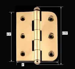 "spec-<PRE>Bright Solid Brass Cabinet Hinge 2"" x 2.5&quot; Button Tip </PRE>"