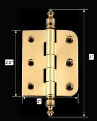 "spec-<PRE>Bright Solid Brass Cabinet Hinge 2"" x 2.5&quot;  Urn Tip </PRE>"
