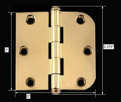 spec-<PRE>Bright Solid Brass Cabinet Hinge 3&quot; x 3&quot; Button Tip </PRE>