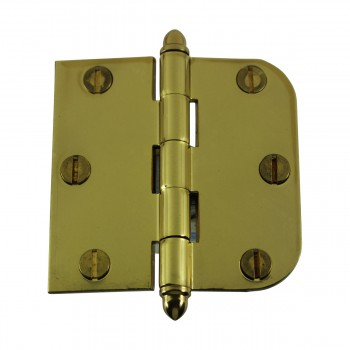 "<PRE>Bright Solid Brass Cabinet Hinge 3inch x 3"" Helmet Tip </PRE>zoom4"