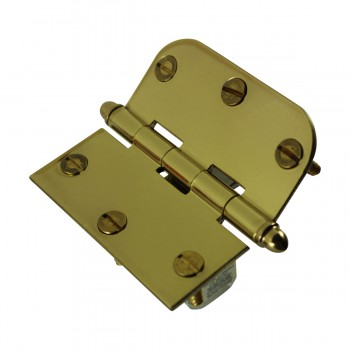 "<PRE>Bright Solid Brass Cabinet Hinge 3inch x 3"" Helmet Tip </PRE>zoom7"