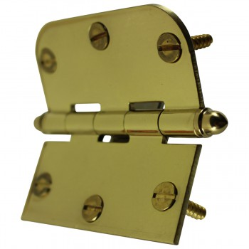 "<PRE>Bright Solid Brass Cabinet Hinge 3inch x 3"" Helmet Tip </PRE>zoom8"