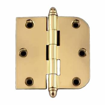"<PRE>Bright Solid Brass Cabinet Hinge 3inch x 3"" Helmet Tip </PRE>zoom1"