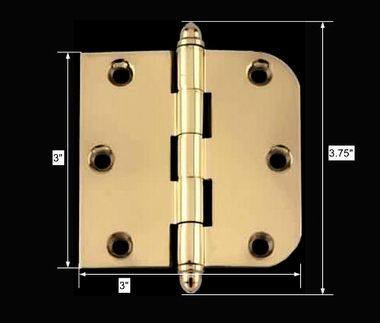 "spec-<PRE>Bright Solid Brass Cabinet Hinge 3"" x 3"" Helmet Tip </PRE>"