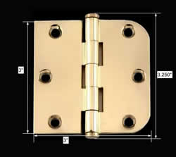 spec-<PRE>Bright Solid Brass Cabinet Hinge 3&quot; x 3&quot; Coin Tip </PRE>