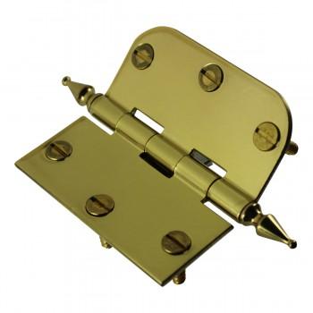 "<PRE>Bright Solid Brass Cabinet Hinge 3inch x 3"" Spire Tip </PRE>zoom7"