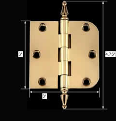spec-<PRE>Bright Solid Brass Cabinet Hinge 3&quot; x 3&quot; Spire Tip </PRE>