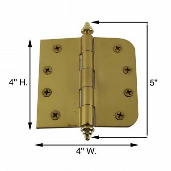 "spec-<PRE>Bright Solid Brass Door Hinge 4"" Decor Tip </PRE>"