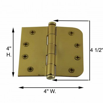 "spec-<PRE>Bright Solid Brass Door Hinge 4"" Coin Tip </PRE>"