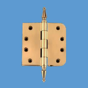 "spec-<PRE>Door Hinge 4"" Bright Solid Brass Spire Tip </PRE>"