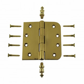 <PRE>Bright Solid Brass Door Hinge 4inch Urn Tip </PRE>zoom3