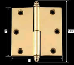 spec-<PRE>Door Cabinet Hinge Lift Off Left 3in Solid Brass Decor Tip </PRE>