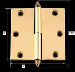 spec-<PRE>Door Cabinet Hinge Lift Off Left 3&quot; Solid Brass Decor Tip </PRE>