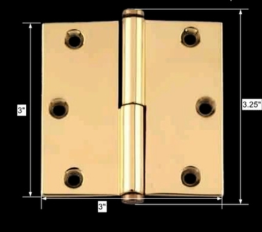 spec-<PRE>Door Cabinet Hinge Lift Off Left 3&quot; Solid Brass Coin Tip </PRE>