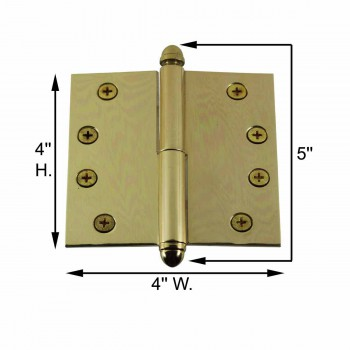spec-<PRE>Solid Brass Antique Lift Off Left Door Hinge 4in Helmet Tip </PRE>
