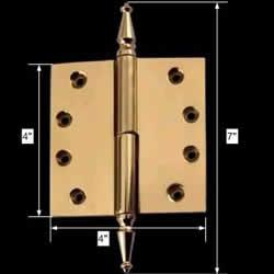 spec-<PRE>Door Hinge Lift Off Left 4&quot; Solid Brass Spire Tip </PRE>