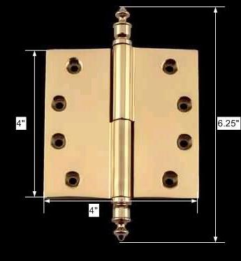 spec-<PRE>Solid Brass Antique Lift Off Left Door Hinge 4&quot; Urn Tip </PRE>