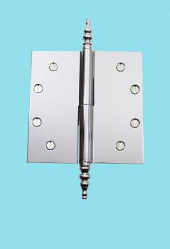 spec-<PRE>Chrome Lift Off Left Brass Door Hinge 5&quot; Steeple Tip </PRE>