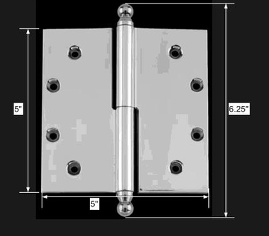 "spec-<PRE>Chrome Lift Off Left Brass Door Hinge 5"" Ball Tip </PRE>"