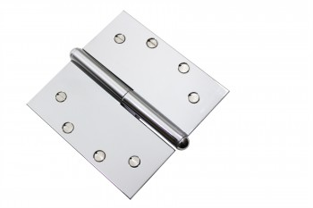 <PRE>Chrome Lift Off Left Brass Door Hinge 5&quot; Button Tip </PRE>