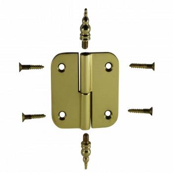 Brass Lift Off Left Cabinet Hinge 2 Vintage Steeple Tip