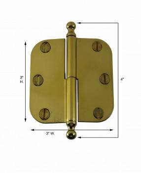 spec-<PRE>Brass Lift Off Left Cabinet Hinge 3&quot; Radius Ball Tip </PRE>