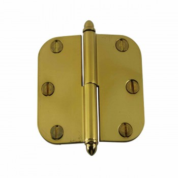 Brass Lift Off Left Cabinet Hinge 3inch Radius Helmet Tip 14933grid