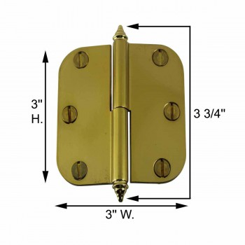 spec-<PRE>Brass Lift Off Left Cabinet Hinge 3&quot; Radius Decor Tip </PRE>