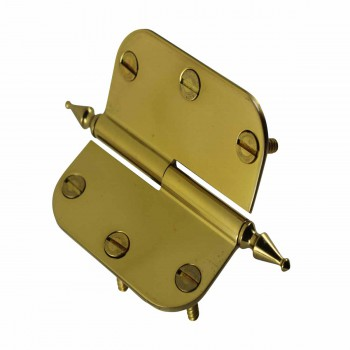<PRE>Brass Lift Off Left Cabinet Hinge 3&quot; Radius Spire Tip </PRE>