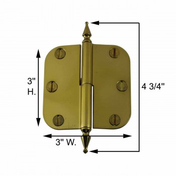 spec-<PRE>Brass Lift Off Left Cabinet Hinge 3&quot; Radius Spire Tip </PRE>