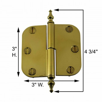 "spec-<PRE>Brass Lift Off Left Cabinet Hinge 3"" Radius Temple Tip </PRE>"