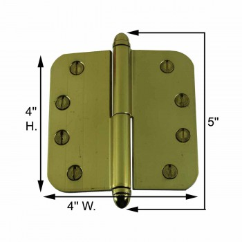 spec-<PRE>Brass Lift Off Left Door Hinge 4inch Radius Helmet Tip </PRE>