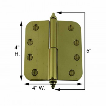 spec-<PRE>Brass Lift Off Left Door Hinge 4&quot; Radius Decor Tip </PRE>