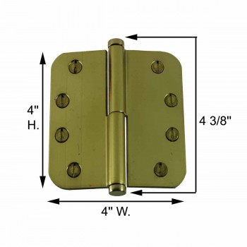 "spec-<PRE>Brass Lift Off Left Door Hinge 4"" Radius Coin Tip </PRE>"