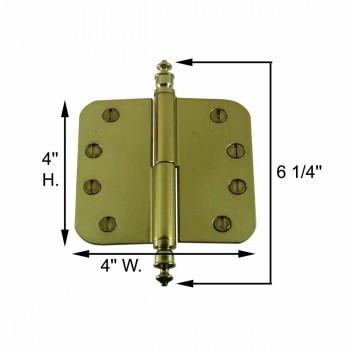 spec-<PRE>Brass Lift Off Left Door Hinge 4&quot; Radius Urn Tip </PRE>