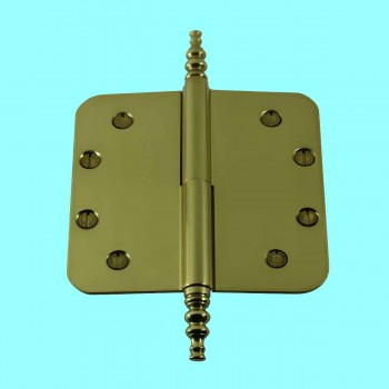 <PRE>Brass Lift Off Left Door Hinge 5&quot; Radius Steeple Tip </PRE>
