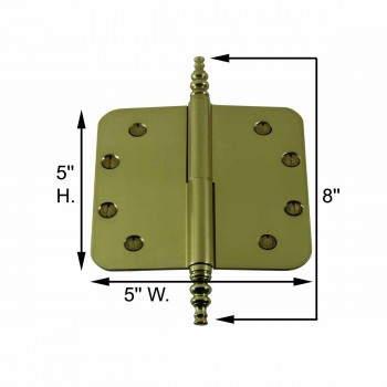 "spec-<PRE>Brass Lift Off Left Door Hinge 5"" Radius Steeple Tip </PRE>"