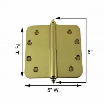 spec-<PRE>Brass Lift Off Left Door Hinge 5&quot; Radius Decor Tip </PRE>