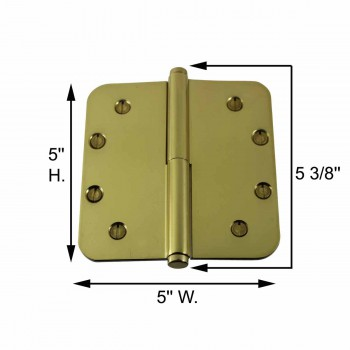 spec-<PRE>Brass Lift Off Left Door Hinge 5&quot; Radius Coin Tip </PRE>