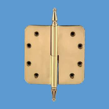 spec-<PRE>Lift Off Left Door Hinge 5&quot; Brass Radius Spire Tip </PRE>