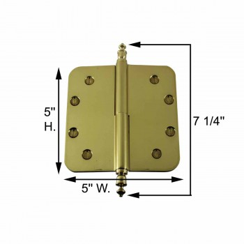 spec-<PRE>Brass Lift Off Left Door Hinge 5&quot; Radius Urn Tip </PRE>