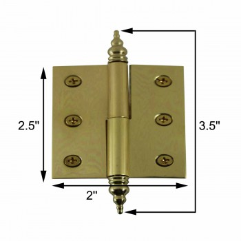 "spec-<PRE>Lift Off Right Brass Cabinet Hinge 2"" x 2.5"" Steeple Tip </PRE>"