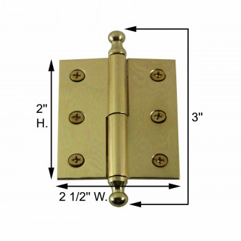 "spec-<PRE>Bright Solid Brass 2""x2.5"" Square LOR Hinge 97173/92143</PRE>"