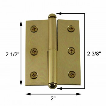 spec-<PRE>Lift Off Right Brass Cabinet Hinge 2&quot; x 2.5&quot; Button Tip </PRE>