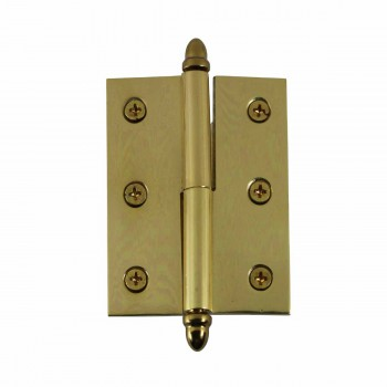 Lift Off Right Brass Cabinet Hinge 2in x 2.5in Helmet Tip 15043grid