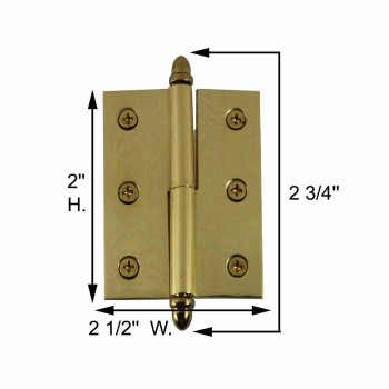 spec-<PRE>Lift Off Right Brass Cabinet Hinge 2in x 2.5in Helmet Tip </PRE>