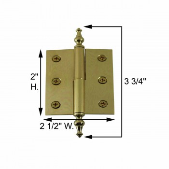 "spec-<PRE>Lift Off Right Brass Cabinet Hinge 2"" x 2.5"" Temple Tip </PRE>"