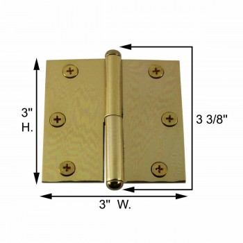 spec-<PRE>3in Lift Off Right Brass Cabinet Hinge Vintage Button Tip </PRE>