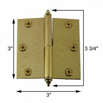 spec-<PRE>3inch Lift Off Right Brass Cabinet Hinge Vintage Decor Tip </PRE>