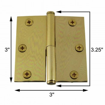 spec-<PRE>3 in. Lift Off Right Brass Cabinet Hinge Vintage Coin Tip </PRE>